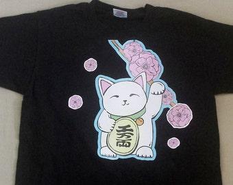 T-shirt met lucky cat (maneki neko) lolita, punk, fantasy, kawaii, altrnative, J-fashion, cute
