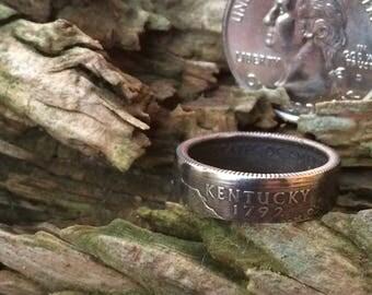 Kentucky state quarter coin ring