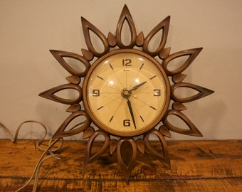 Midcentury Modern Syroco Wall Clock