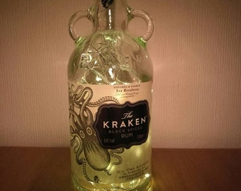 Upcycled Kraken Spiced Rum LED Light Bottle