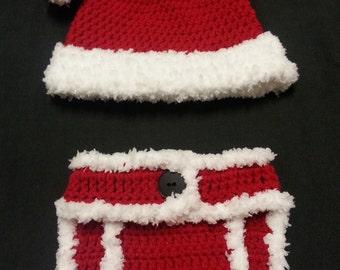 Crochet Santa Hat and Diaper Cover, Christmas photo props, photo props