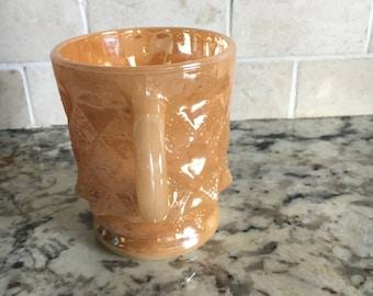 Vintage Fire King Anchor Hocking Peach Lustre Kimberly Mug