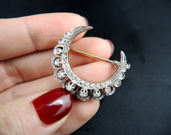 """Crescent Moon"" pin gold and silver - Napoleon III, XIX century / / / gold and silver ""crescent moon"" brooch-Napoleon III, 19th Century"