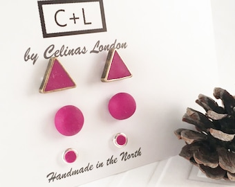 SALE - Trio of red-violet studs/ Trio of studs/ Handmade polymer clay