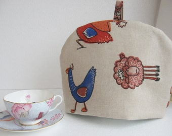 Farmyard Animal Tea Cosy (cosies) Fabric, Handmade