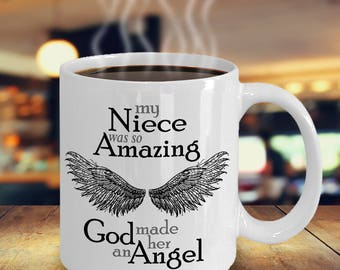 Niece Guardian Angel Mug | Sympathy Mug | Bereavement Mug | Memorial Gift Mug | Grief Mug | Memorial Mug | Angel Wings | Remembrance Mug