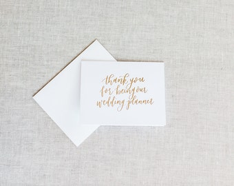 Thank You Gift To Wedding Planner : You For Being Our Wedding PlannerCalligraphy Foil Wedding Thank You ...