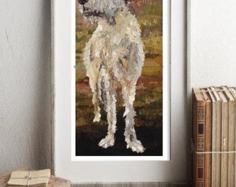 Irish Wolfhound, Paper Print, Canvas Print, Small Medium Large Sizes, Dog Art, Art Prints, Pet Portrait Artist, Rescue Art co,