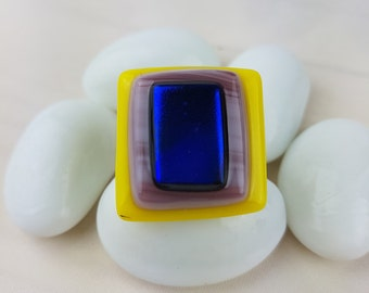 Yellow and Purple Fused Glass Ring