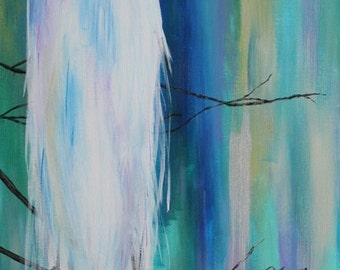 The Melting Crane {Crane // Herron // Bird // Abstract // Colorful // Cool Hues // Branches}