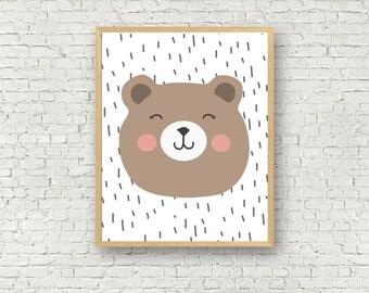Cute Bear Wall Art Printable - Nursery Decor Art Print - 5x7 and 8x10 - Bear Art Print - Boys room decor Girls room decor - nursery decor