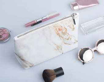 Large Small Cosmetic Bag Travel pouch Make Up Bag Toiletry Travel Zipper Pouch Zippered Cosmetic Bag Leather Toiletry Bag Marble Cosmetic