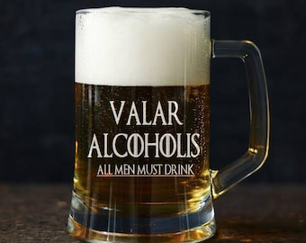Vallar Alcoholis 23oz Large Game of Thrones engarved Beer Mug