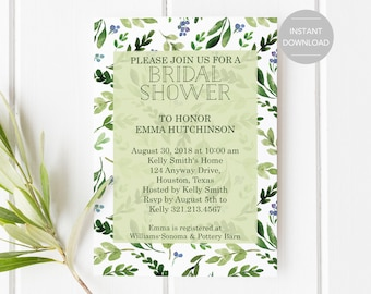 Bridal Shower Invitation, Printable Bridal Shower Invitation, Greenery Bridal Shower Invitation, Bridal Shower Invitation Template