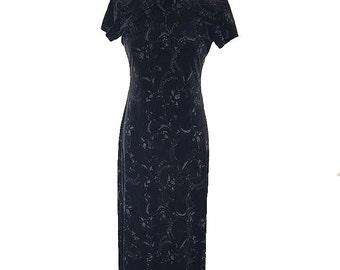 Sherri Martin New York Petites Vintage 1990's Black Cheongsam, Qipao Styled Dress / Vintage 90's Prom Dress / Little Black Dress