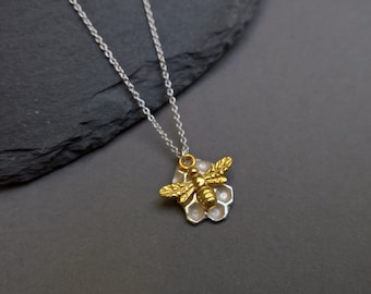 Honeycomb necklace, bee necklace, honey bee jewelry, honeycomb jewelry, silver pendant necklace, double pendant necklace, gold bee charm