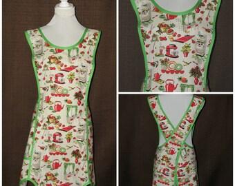 Wrap apron, womens Aprons, No tie apron, pinafore apron, square cross apron, smock, Full apron woman, Cooking apron, Retro womens apron