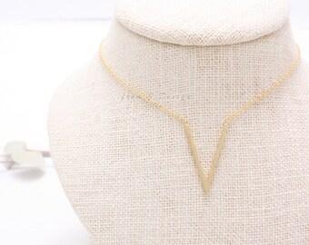 V Pendant Necklace, Chevron Charm Necklace