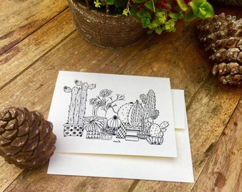 """Whimsical, hand drawn Cacti and Succulent Greeting cards based on popular """"ouch"""" print.  Cards, Note cards, desert. Set of 10"""