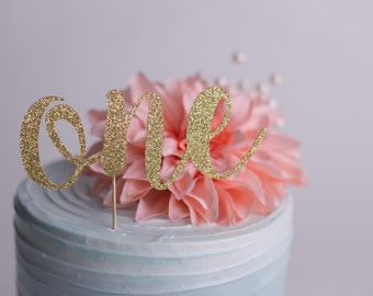 "Cake Topper ""One"" - First Birthday, Glitter Cake Topper, ONE Cake Topper, Cake Decor, Photo Prop, Cake Smash"