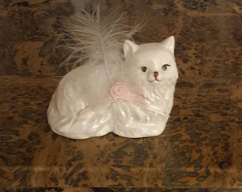 Vintage Pearlescent CAT FIGURINE With Feather, Russ Berri And Company, Cat Knick Knack, White Kitten, Cat Decor, Shelf Decor