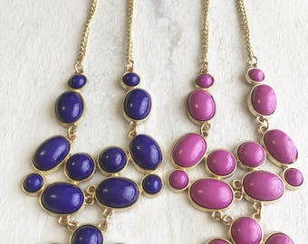 Pink or blue beads necklace