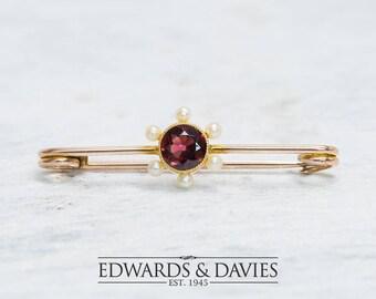 Gold Pearl Garnet Pin Brooch | Garnet Brooch | Garnet Pearl Lapel Pin  | Antique Jewelry | Antique Jewellery | Antique Brooch | Vintage Pin
