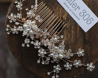 Gold Floral Crystal Pearl Hair Comb