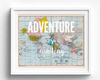 Adventure is Waiting, Printable Map, Travel Theme Nursery, Map Decor, Vintage Map Decor, Map Print, Map Wall Art, Adventure Theme,