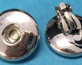 New Silver Tone Clip on Interchangeable Snap Earrings for 18mm Snaps - Great New Earring