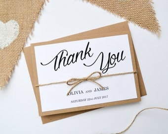 Rustic Thank You Card - Kraft Wedding