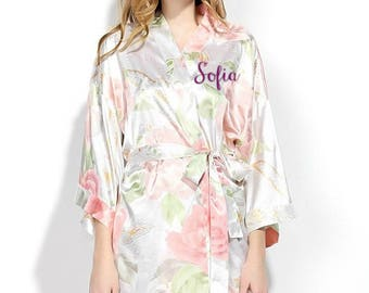 "PERSONALIZED ""NEW""  Floral Robe perfect for bride, bridesmaid, mother of the bride, maid of honor, kimono, pregnancy"