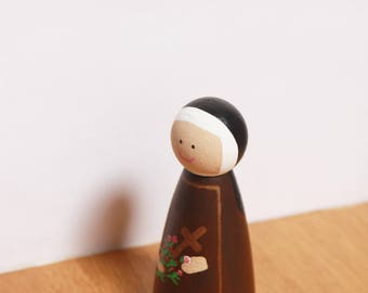 St Therese statue / Saint peg doll / Catholic / Wooden toy