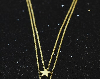 Dainty crescent moon and star double layer necklace
