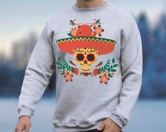 Day of the Dead Clothing Mexican Clothing for Womens Mens Sweater Mexican Sweatshirt with Skull Sweatshirt Skull Sweater Printed Jumper 022