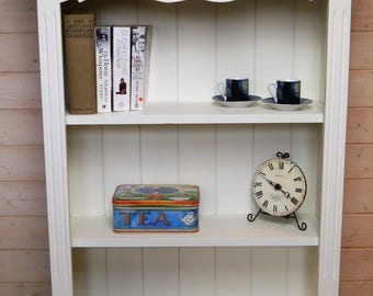 Vintage Bookcase Display Unit with Adjustable Shelves - Painted and Waxed - Clotted Cream