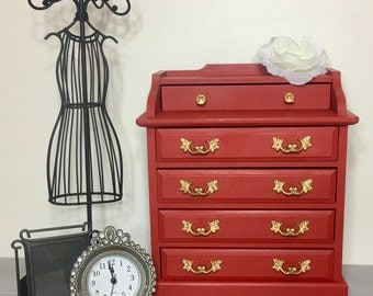 Elegant, Sophisticated Red & Gold Musical Jewelry Box, Hand Painted Gift for her