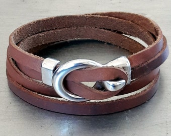 Natural leather cuff, Leather wrap with loop hook silver closure, Trendy guys soft leather cuff , Modern design bracelet