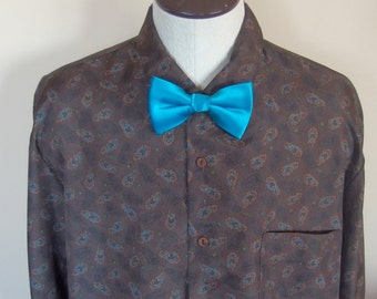Mens 1980s Polyester Long Sleeve Shirt Brown with Blue Print XL