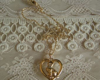 Avon Cat Necklace With Rhinestone Collar