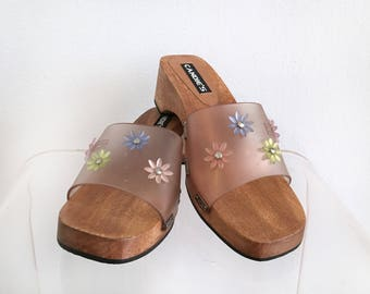 90s Clear Plastic Candies Sandals with Flowers