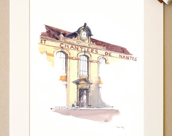 Watercolor Nantes -... And construction of Nantes - signed reproduction and appear