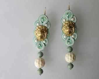 "Earrings earrings earrings ""Eating pistachio icecream at the Fontanna di Trevi"" Soutache Sutasz Lion Lew Löwe Rome Rzym Rome"