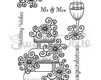 Wedding Cake Clear Stamp Set  - 7 clear stamps - Sweet Dixie Wedding Collection