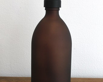 Amber Brown Matt Glass Soap Dispenser Bottle in 500ml With Stainless Steel Pump