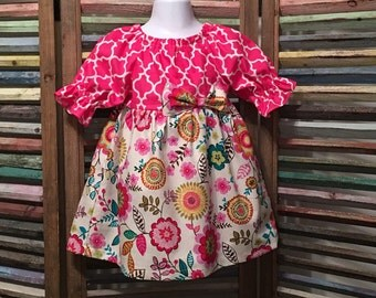 Girl dress, Girls peasant dress, Little girls dress, Girls spring or summer dress, Boho girl dress, Toddler dress,  Size 2T dress, #183