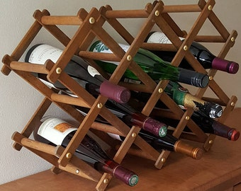 Wood Countertop Wine Rack~8 Bottle Folding Wine Rack~Wooden Wine Bottle Storage~ Wood Wine Rack~Wood Accordion Wine Rack