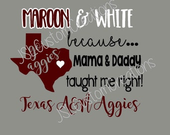 Love Maroon and White SVG, Texas A&M, Football, Aggies, Mama, Daddy, PNG File, EPS File