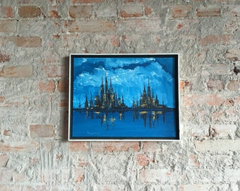 Framed Signed Oil Painting on Board - Blue Water Clouds Downtown Cityscape Castle Oz New York City