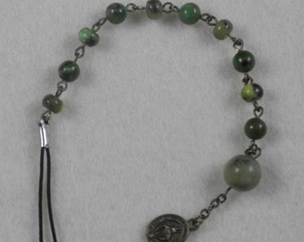 1 Decade Travel Charm with Olive Jade, Chrysoprase & Serpentine Stone Beads